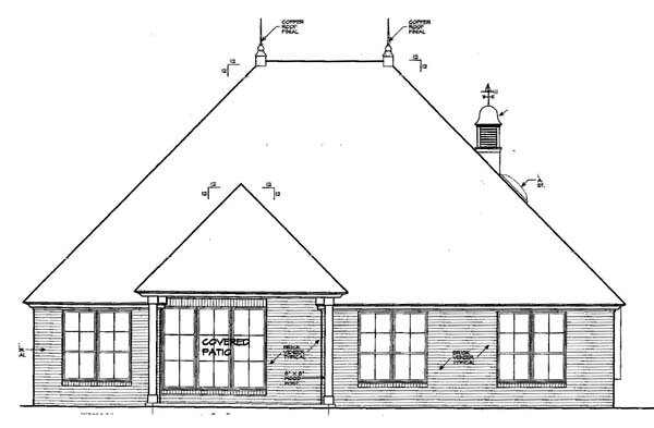 Rear Elevation of House Plan 66131