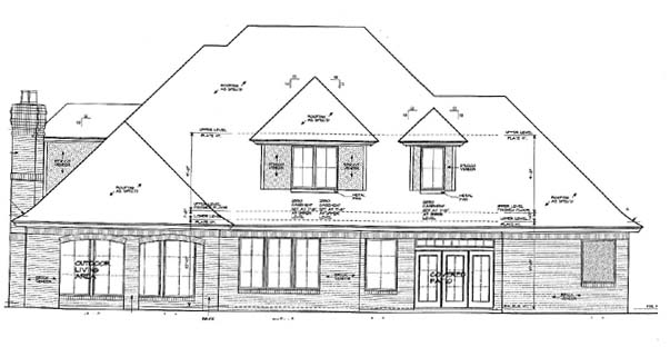 European French Country Rear Elevation of Plan 66146