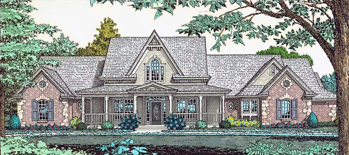 Farmhouse, French Country House Plan 66167 with 4 Beds, 3 Baths, 3 Car Garage Elevation