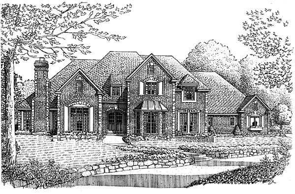 European, French Country House Plan 66168 with 4 Beds, 4 Baths, 3 Car Garage Elevation
