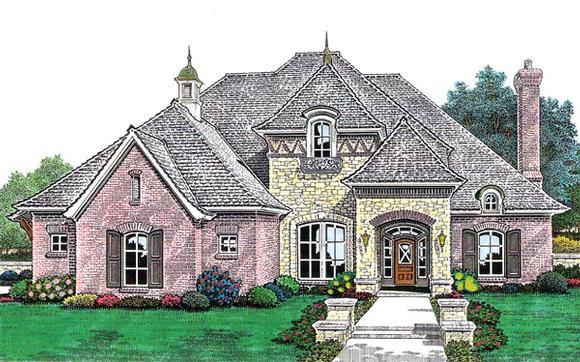 European, French Country House Plan 66211 with 4 Beds, 4 Baths, 3 Car Garage Elevation