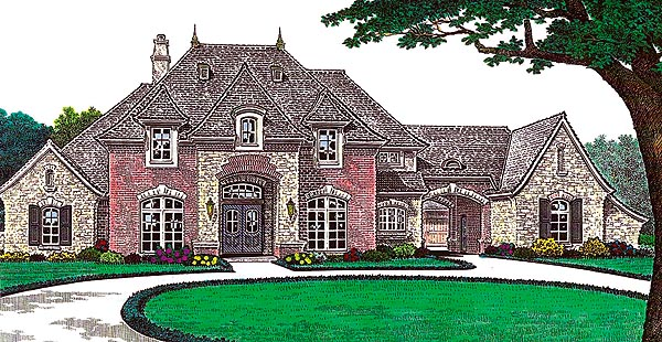 House plan 66213 at for French country house plans with porte cochere