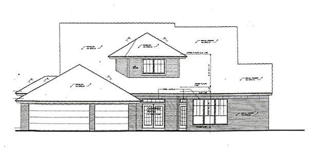 House Plan 66222 with 4 Beds, 4 Baths, 3 Car Garage Rear Elevation