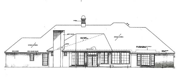 House Plan 66226 with 4 Beds, 3 Baths, 3 Car Garage Rear Elevation