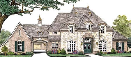 House plan 66235 at for French country house plans with porte cochere