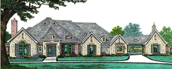 French Country, Southern House Plan 66241 with 4 Beds, 3 Baths, 3 Car Garage Elevation