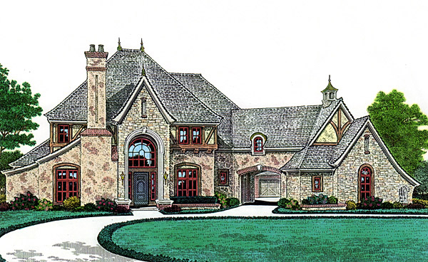 french country southern house plan 66247 elevation - French Country House Plans With Porte Cochere
