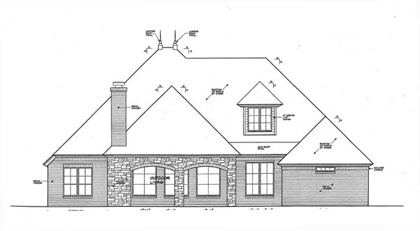 European House Plan 66269 Rear Elevation