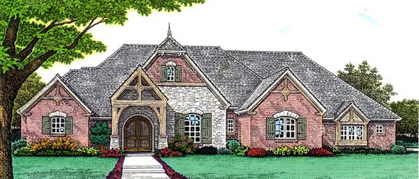 Country, European, French Country House Plan 66272 with 3 Beds, 3 Baths, 3 Car Garage Elevation