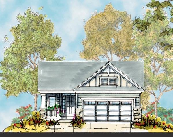 Craftsman House Plan 66407 with 2 Beds, 2 Baths, 2 Car Garage Elevation