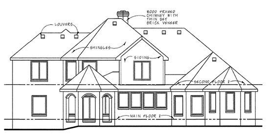 European House Plan 66433 Rear Elevation