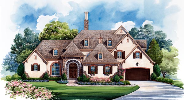 european house plan 66435 elevation - European House Plans