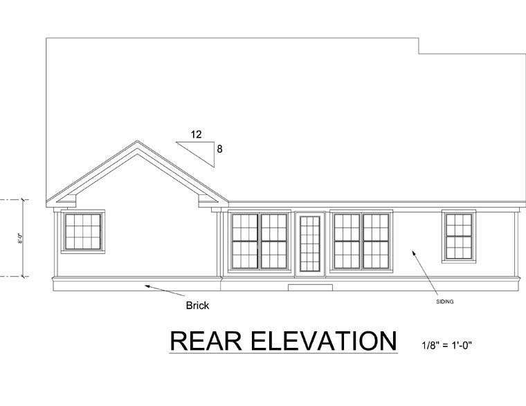 Traditional House Plan 66448 Rear Elevation