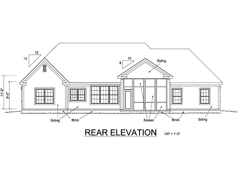 Traditional House Plan 66453 Rear Elevation