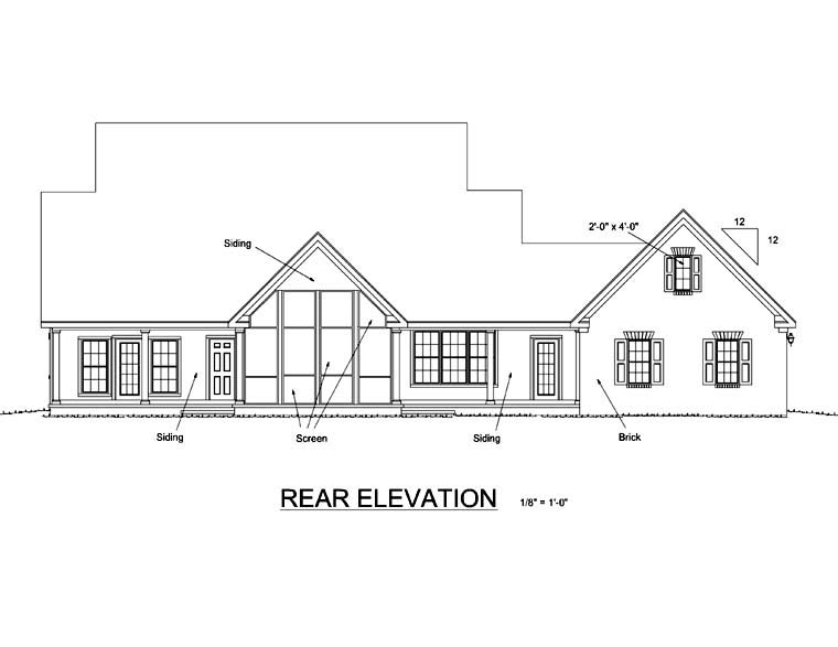 Traditional House Plan 66455 Rear Elevation