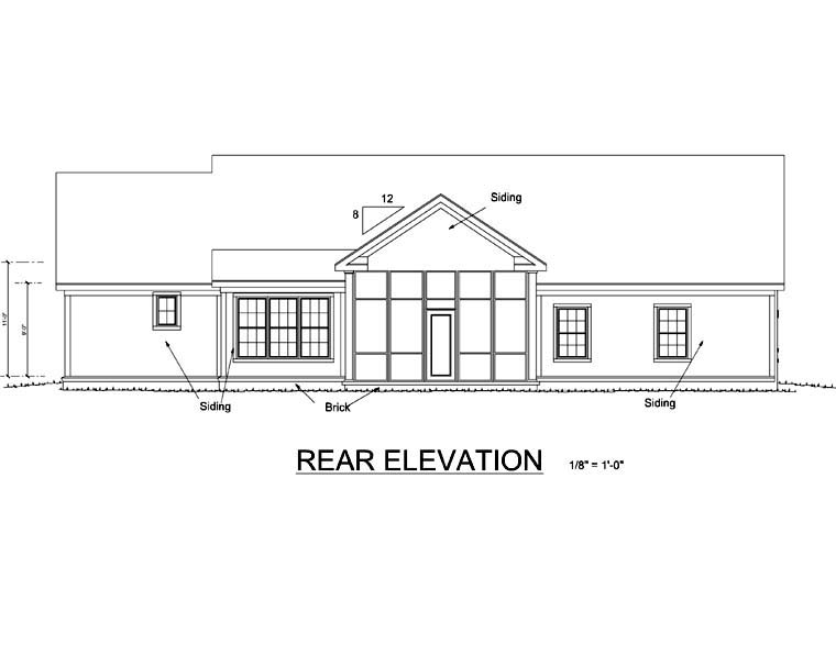 Traditional House Plan 66462 Rear Elevation