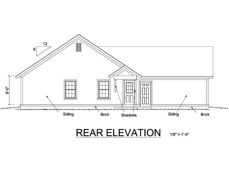 Bungalow Craftsman House Plan 66469 Rear Elevation