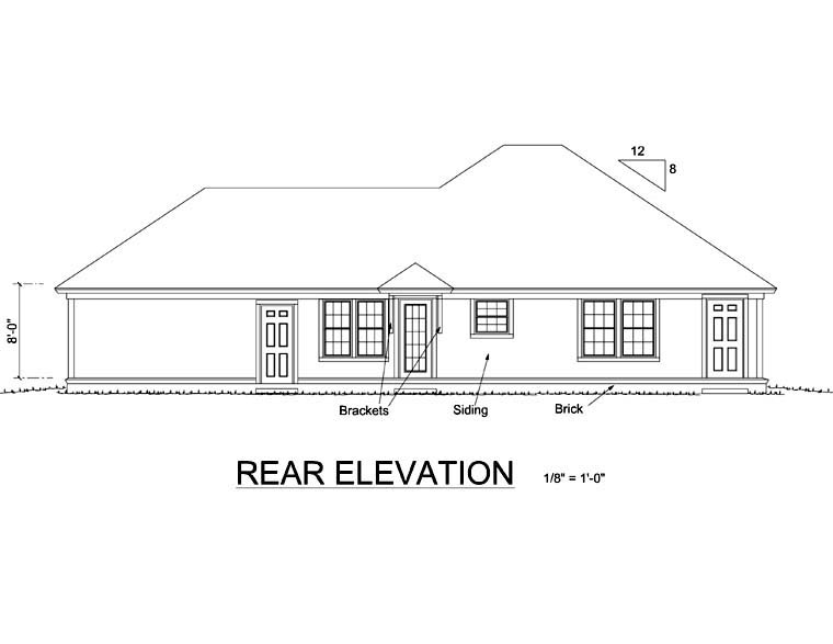 Traditional House Plan 66475 Rear Elevation