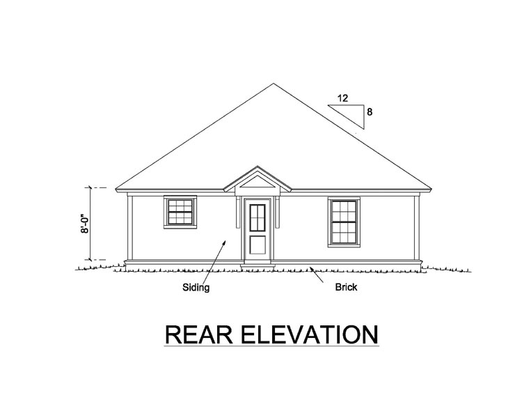 Rear Elevation of Traditional   House Plan 66476