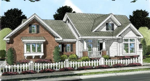 Traditional House Plan 66483 with 4 Beds, 2 Baths, 3 Car Garage Elevation