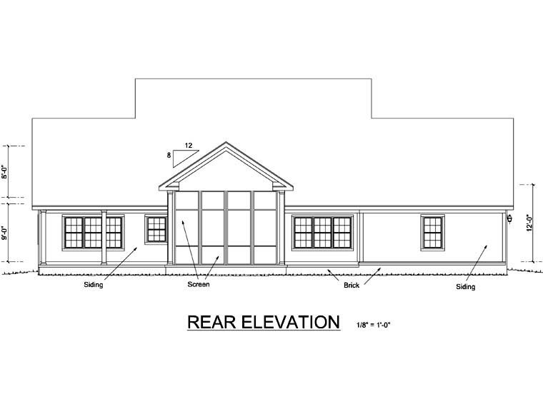 Farmhouse House Plan 66485 Rear Elevation