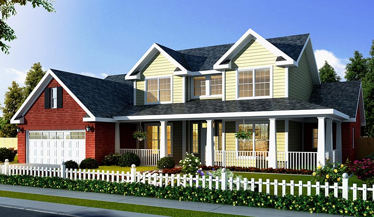 Country, Farmhouse House Plan 66486 with 3 Beds, 3 Baths, 3 Car Garage Elevation