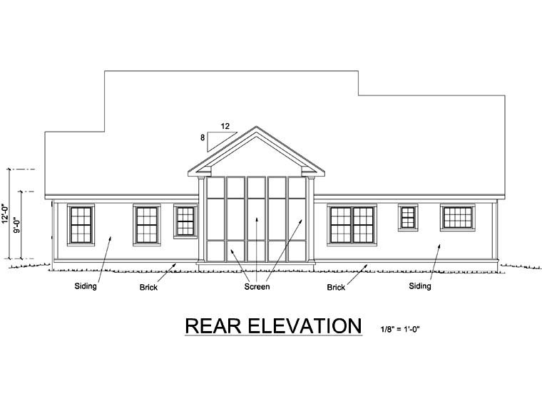 Country, Farmhouse House Plan 66486 with 3 Beds, 3 Baths, 3 Car Garage Rear Elevation