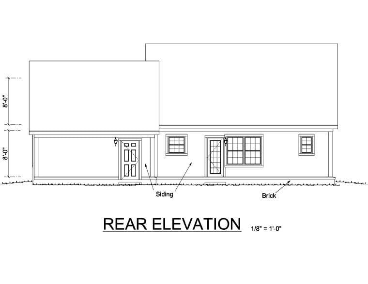 Bungalow Craftsman House Plan 66493 Rear Elevation