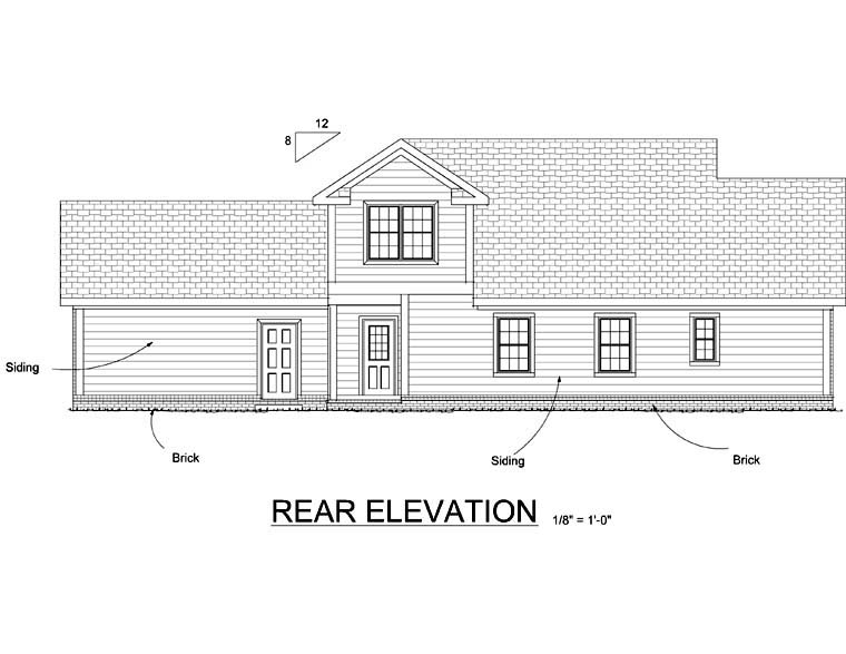 Traditional House Plan 66495 Rear Elevation