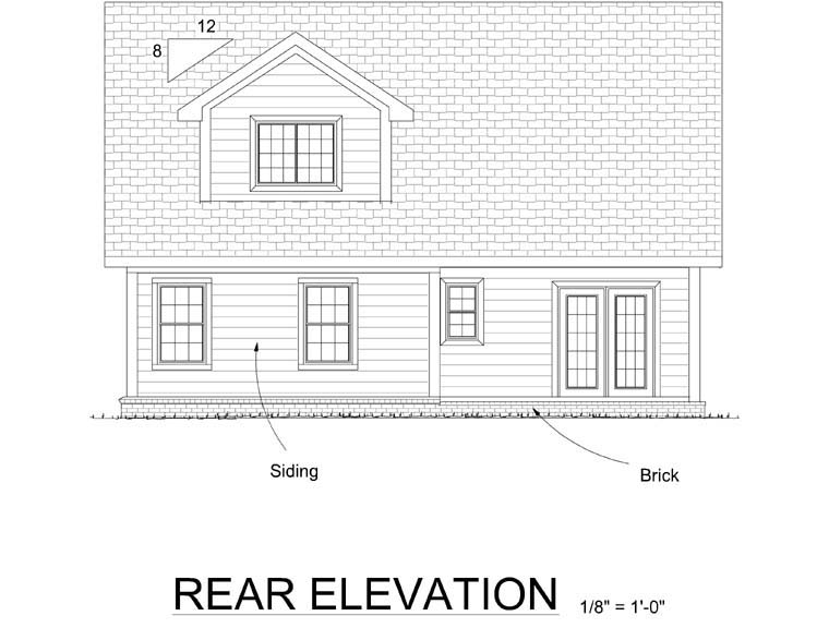 Cottage, Traditional House Plan 66501 with 3 Beds, 3 Baths, 2 Car Garage Rear Elevation