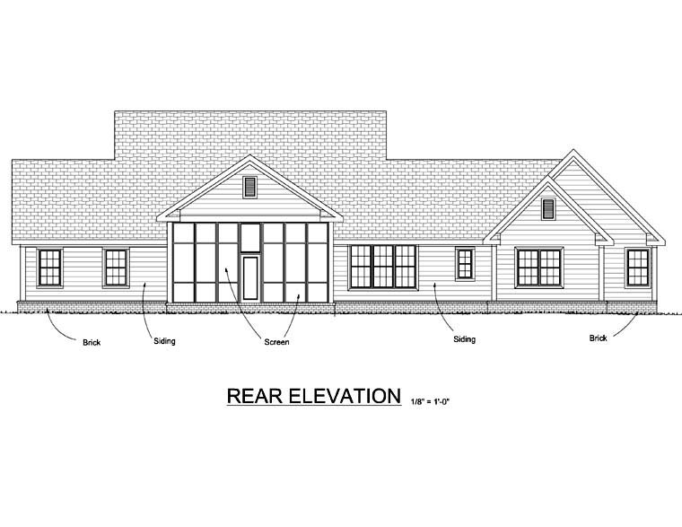 Country Southern House Plan 66504 Rear Elevation