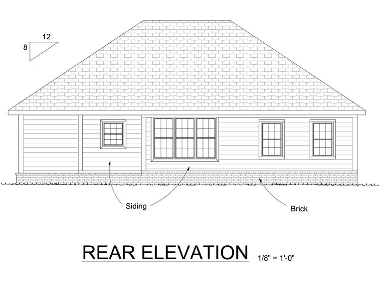 Contemporary Traditional House Plan 66509 Rear Elevation