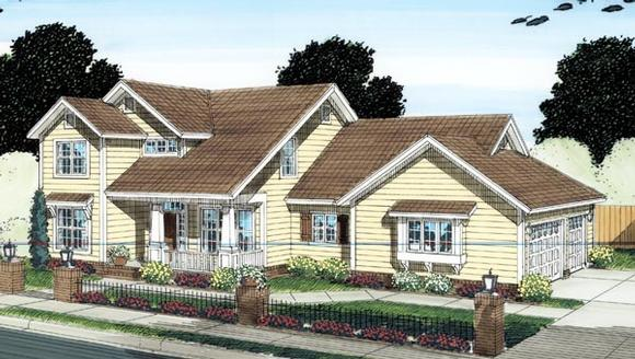 Craftsman, Traditional House Plan 66518 with 4 Beds, 4 Baths, 3 Car Garage Elevation