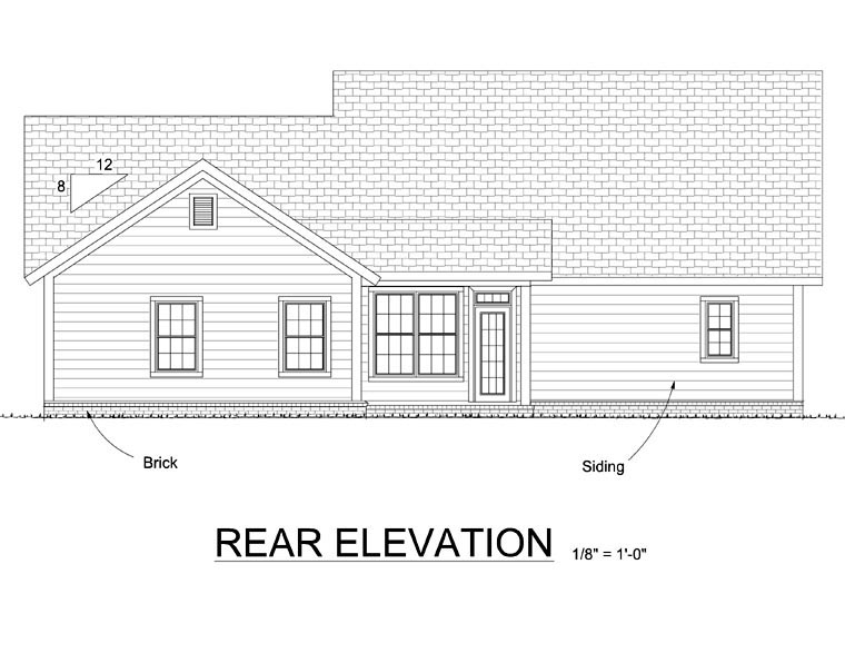 Traditional House Plan 66524 Rear Elevation
