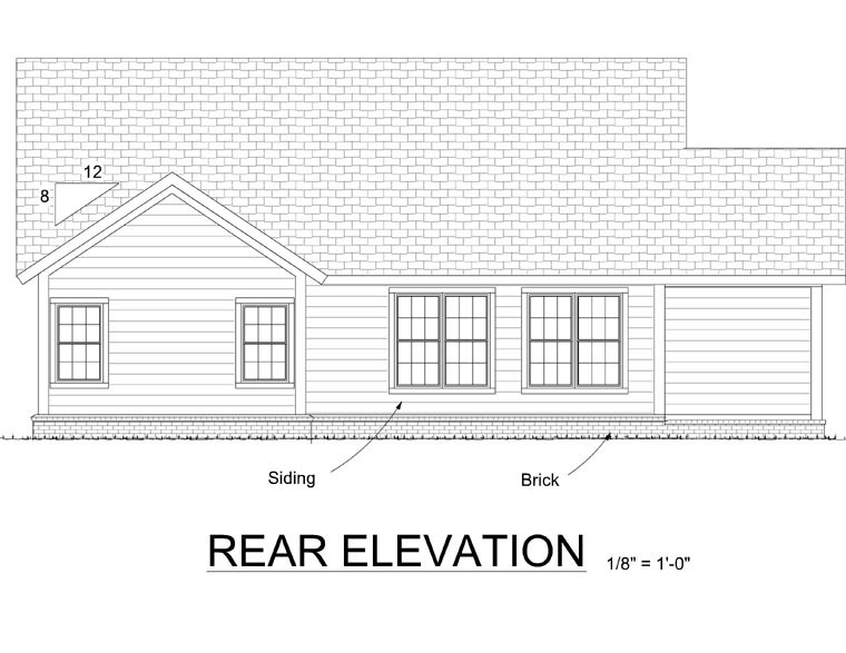 Traditional House Plan 66540 Rear Elevation