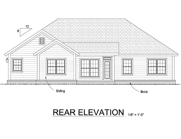 Traditional House Plan 66549 Rear Elevation
