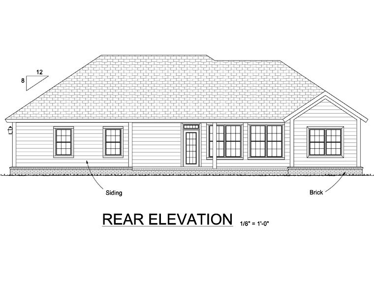 Traditional House Plan 66551 Rear Elevation