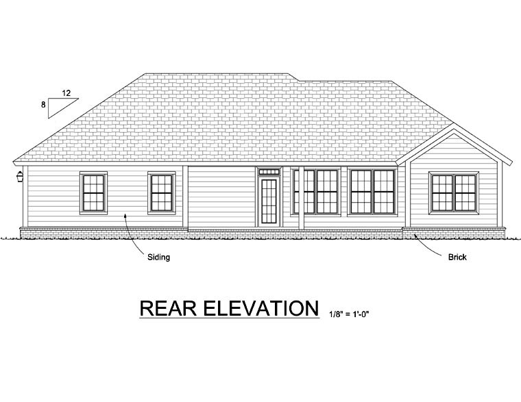 Traditional House Plan 66552 Rear Elevation