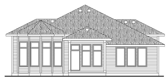 European House Plan 66584 Rear Elevation