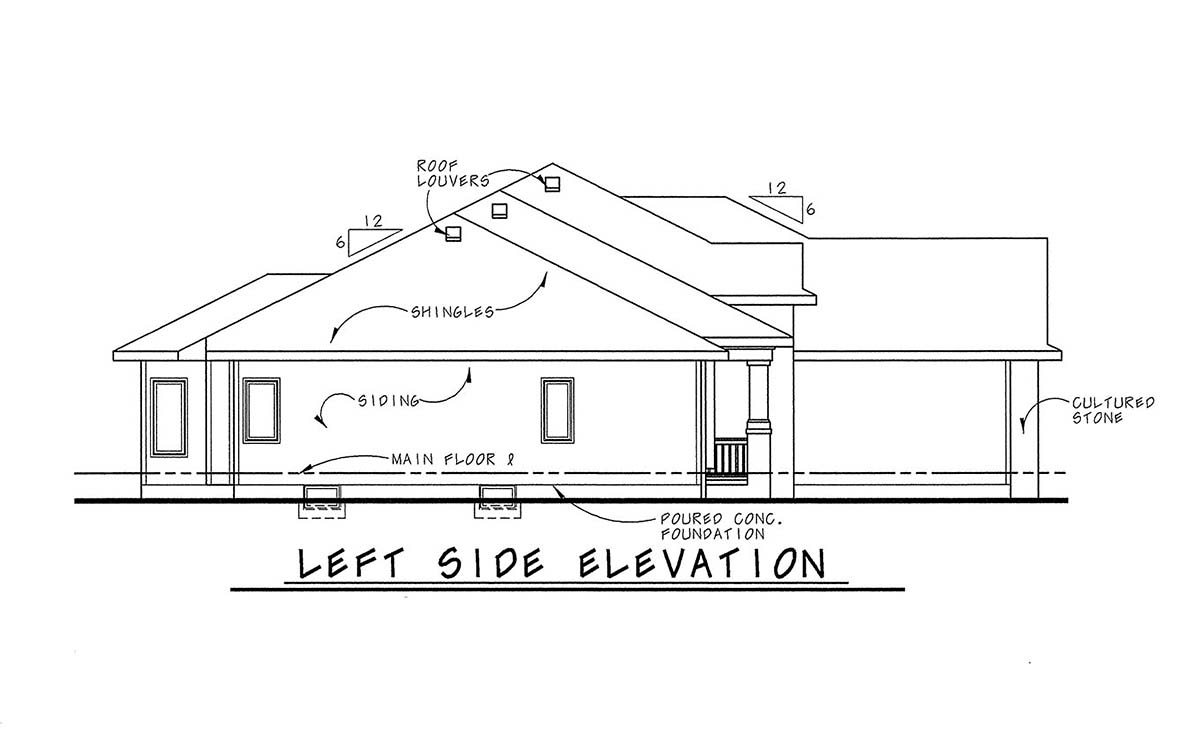 European House Plan 66597 with 3 Beds, 3 Baths, 3 Car Garage Picture 2