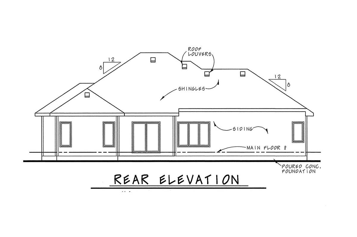 European House Plan 66597 with 3 Beds, 3 Baths, 3 Car Garage Rear Elevation