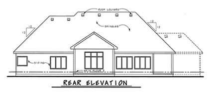 European House Plan 66605 Rear Elevation