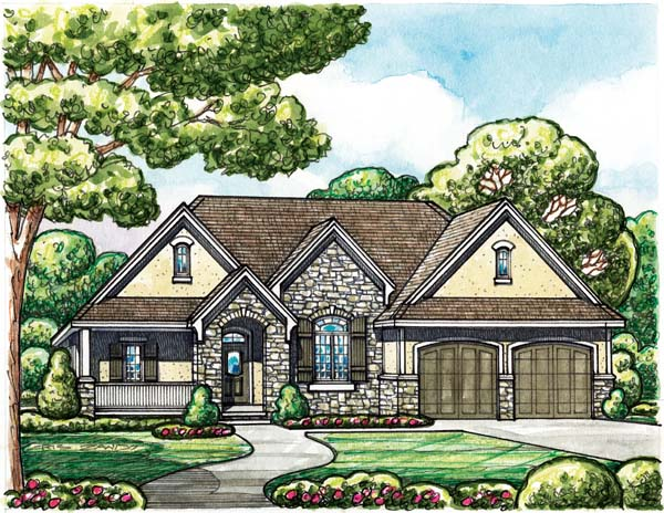 European House Plan 66608 Elevation