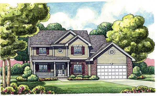 Traditional House Plan 66638 with 4 Beds, 3 Baths, 2 Car Garage Elevation
