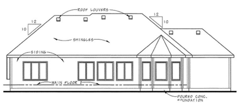 Craftsman European House Plan 66644 Rear Elevation
