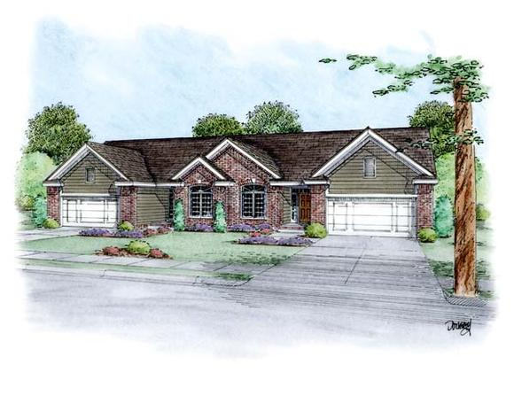 Traditional Multi-Family Plan 66646 with 4 Beds, 4 Baths, 4 Car Garage Elevation