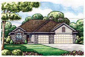 Traditional House Plan 66652 with 2 Beds, 2 Baths, 3 Car Garage Elevation