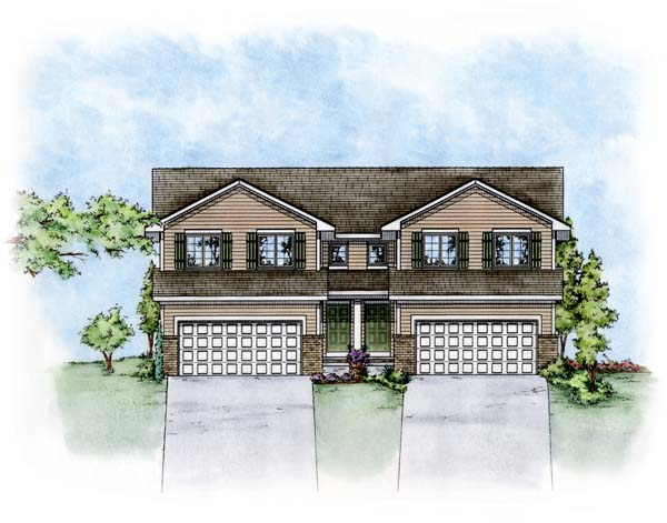 Traditional Multi-Family Plan 66676 Elevation
