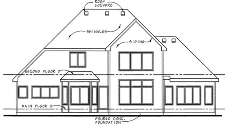 Rear Elevation of Country   European   House Plan 66681