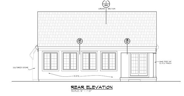 Traditional House Plan 66749 Rear Elevation